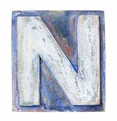 pic of letter n  - Wooden alphabet block - JPG
