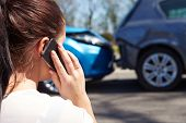 foto of driver  - Stressed Driver Sitting At Roadside After Traffic Accident - JPG