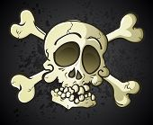 stock photo of eye-sockets  - A skull and crossbones jolly roger cartoon character with bones layered underneath the skull and a bottom jawbone added - JPG