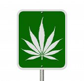 stock photo of marijuana leaf  - A road highway sign isolated on white with a marijuana leaf Driving Under the Influence of Marijuana - JPG