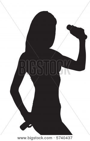 A silhouette of a young attractive woman with weights
