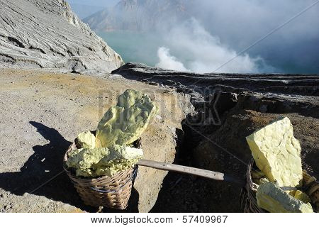 Sulfur Mining On An Active Volcano