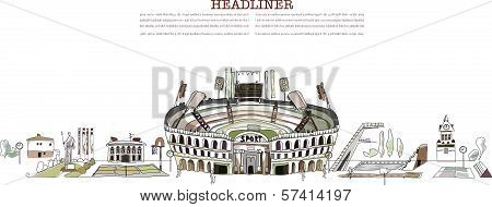 Sport stadium,  sport center illustration, City collection
