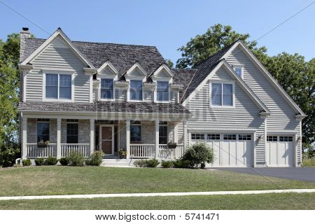 Suburban Home With Front Porch