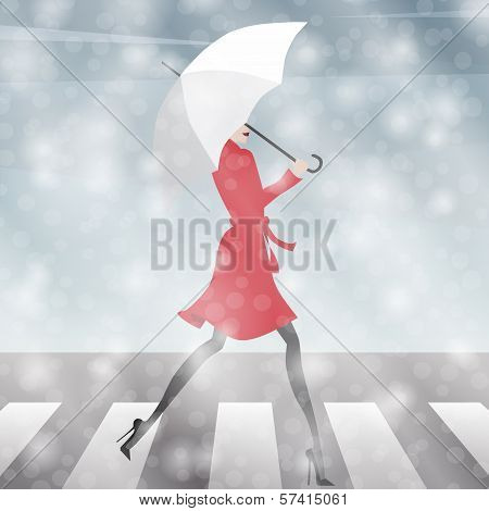 Girl Crossing the Street in the Snow
