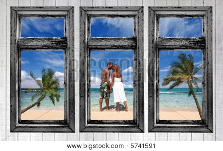 An African Amercian Couple On The Beach