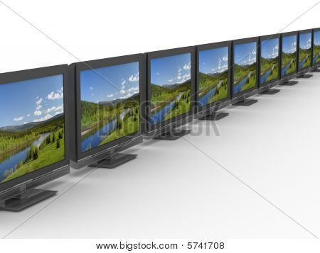 Row Tv On White Background. Isolated 3D Image