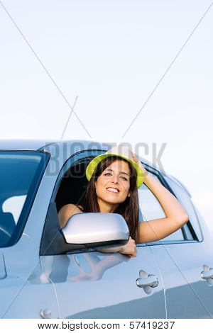 Joyful Woman On Car Travel