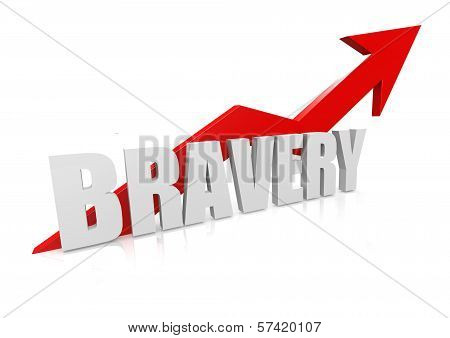 Bravery with upward red arrow