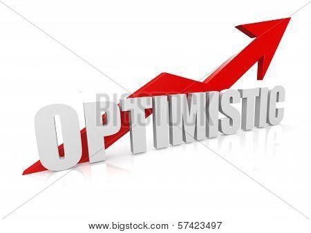 Optimistic with upward red arrow