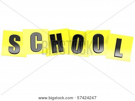 School in yellow note