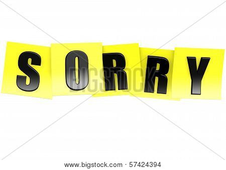 Sorry in yellow note