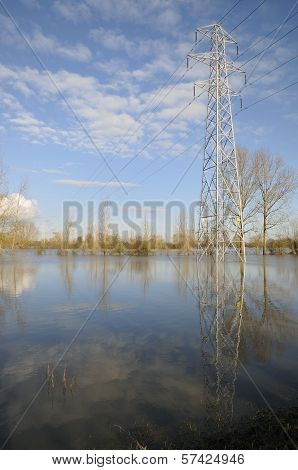 Electricity Power Lines in flood
