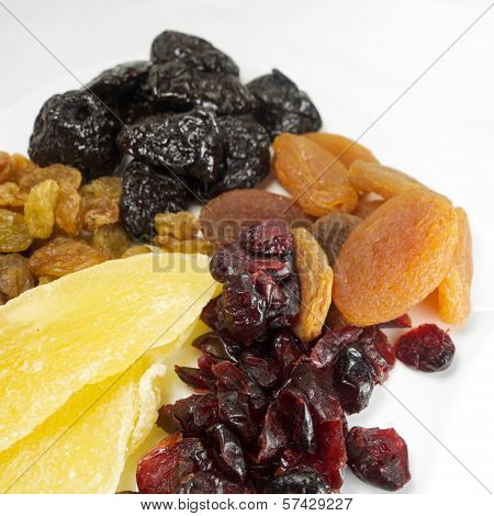 Mixed healthy and dehydrated colourful fruits for breakfast
