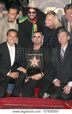 Ben Harper, Don Was, Joe Walsh, Antonio Villaraigosa, Ringo Starr and Leron Gubler at the induction ceremony for Ringo Starr into the Hollywood Walk of Fame, Hollywood, CA. 02-08-10