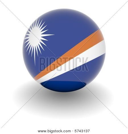 High Resolution Ball With Flag Of Marshall Islands