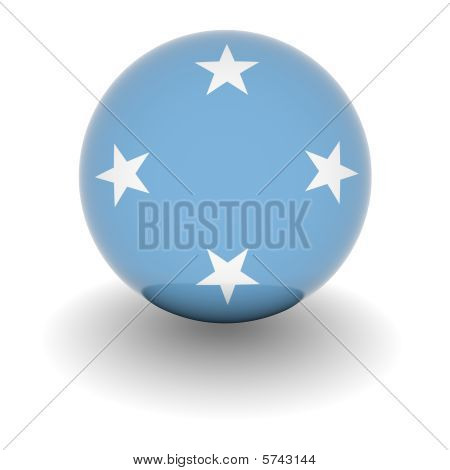 High Resolution Ball With Flag Of Federal States Of Micronesia