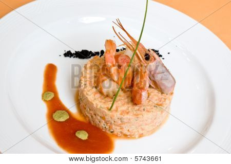 Gourmet Seafood With Shrimp In Restaurant.