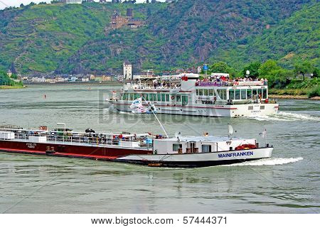 Ships On Rhine River
