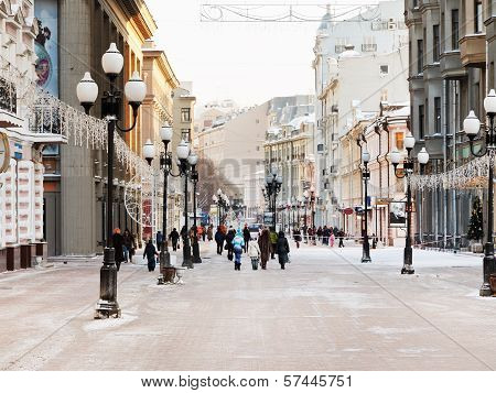 Historical Pedestrian Arbat Street In Moscow