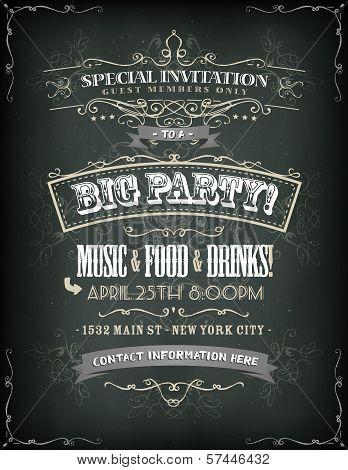 Retro Party Invitation On Chalkboard