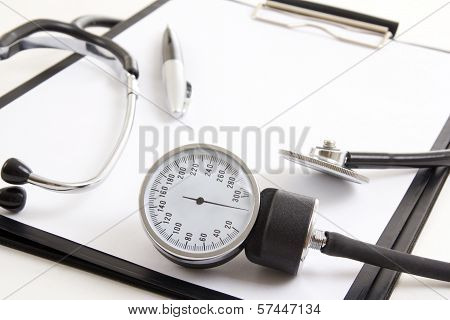 Close Up Of Clipboard And Sphygmomanometer