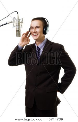 Man Host At Radio Station Speak To Microphone