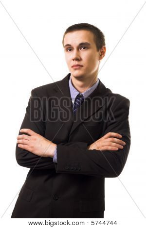 Calm Young Business Man In Suit Lean