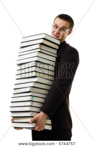 Man Hold Huge Ammount Of Books Expressing Negativity