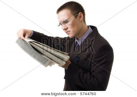 Young Hansome Man In Suit Read Newspaper