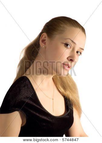 Portrait Girl In Black Velure Dress