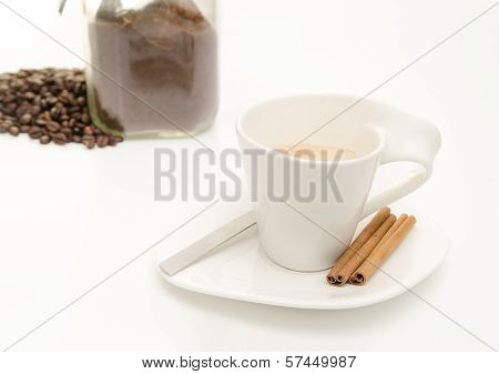 Coffee With Beans And Grinded Coffee