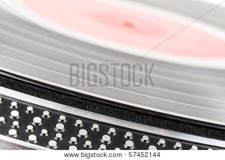 Vinyl Record Lies On Turntable