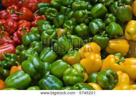 Red, Green And Yellow Peppers