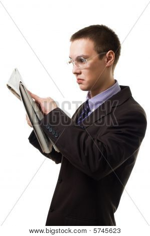 Shocked Man Read Newspaper