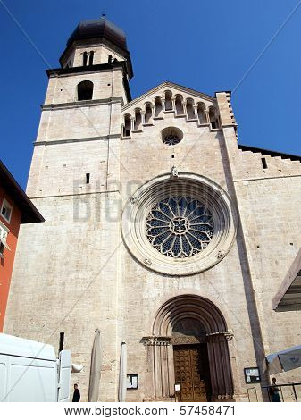 Cathedral Of Trento, Round Window With Ornate Stained Glass Rosette