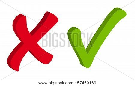 Vector Red and Green Check Mark Icons