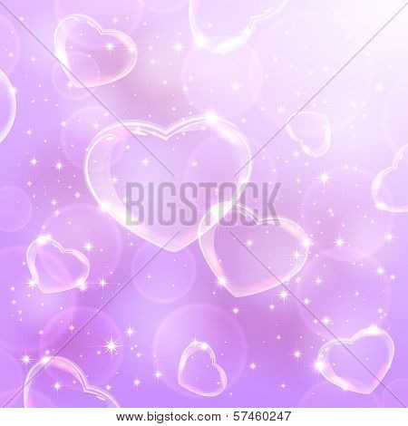 Shine background with hearts