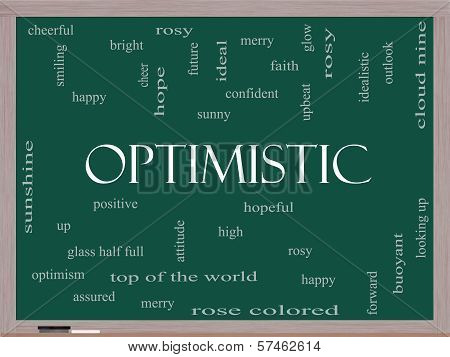 Optimistic Word Cloud Concept On A Blackboard