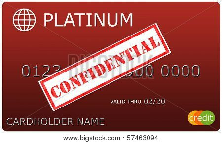 Platinum Red Credit Card With Confidential Sticker