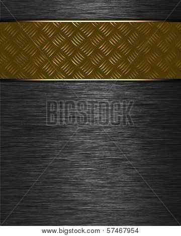 Metal Background with gold nameplate for writing.