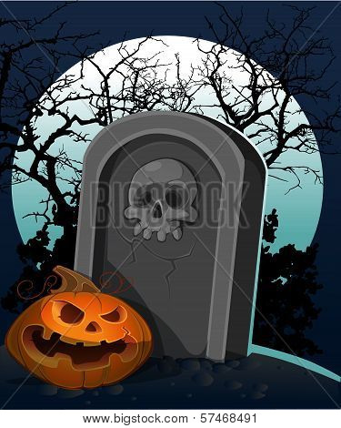 Halloween Decoration - A Grave With A Pumpkin In The Night