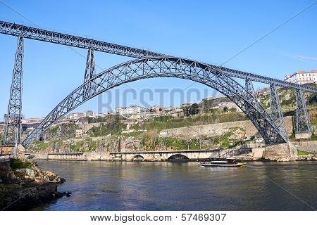 One Of The Several Bridges Over Douro River In Porto, Portugal