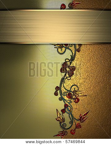 gold Background with abstract plant pattern and gold nameplate