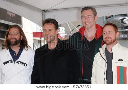 Alan Doyle, Russell Crowe, Kevin Durand and Scott Grimes at the Russell Crowe star ceremony into the Hollywood Walk of Fame, Hollywood, CA 04-12-10