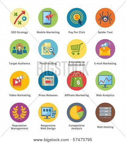 SEO & Internet Marketing Flat Icons Set 3 - Bubble Series
