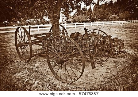 Antique Country Carriage in sepia tone