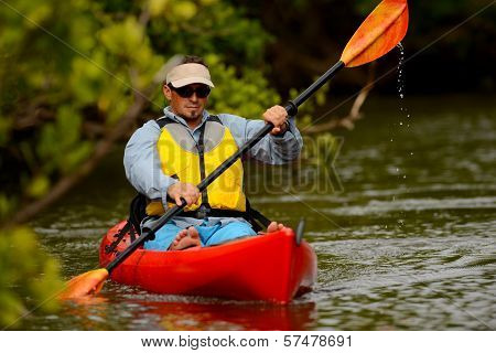 Man In Kayak In Florida