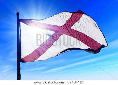 Alabama (USA) flag waving on the wind