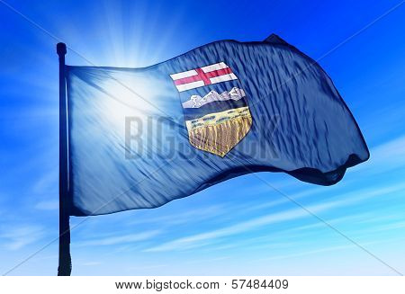 Alberta (Canada) flag waving on the wind